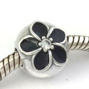 PANDORA Mystic Floral Silver Black Clip Lock Bead
